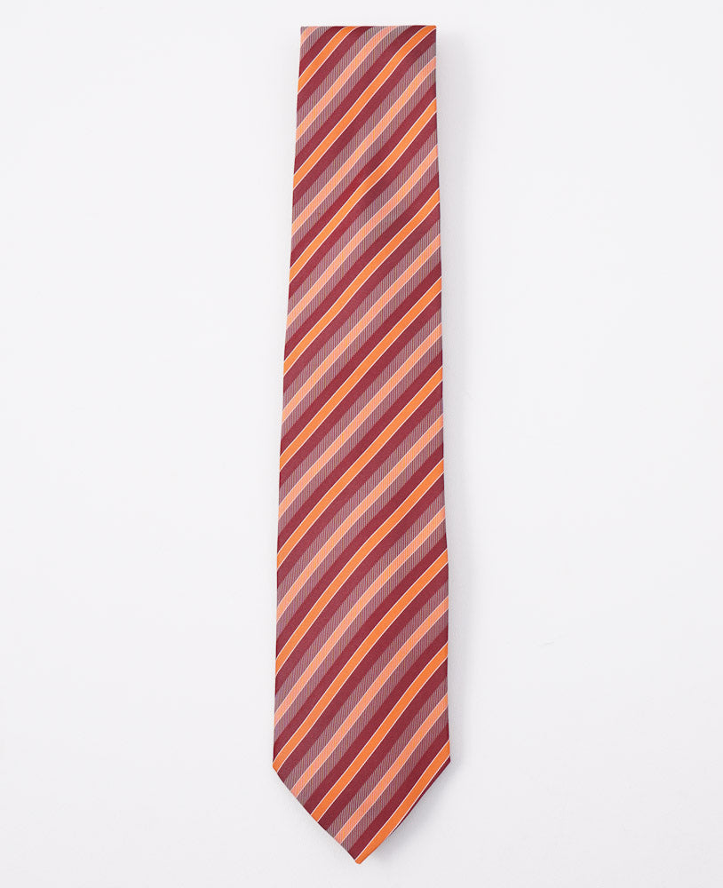 Cesare Attolini Red-Orange Striped Silk Tie