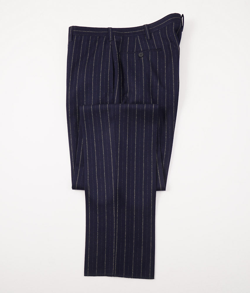 Cesare Attolini Navy Chalk Stripe Flannel Wool Suit - Top Shelf Apparel