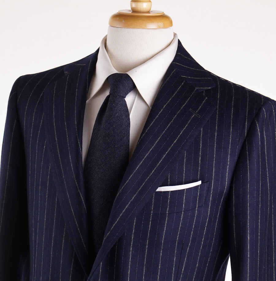 Cesare Attolini Navy Chalk Stripe Flannel Wool Suit