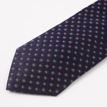 Cesare Attolini Navy and Burgundy Jacquard Silk Tie