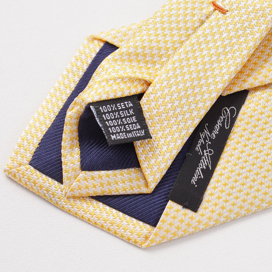 Cesare Attolini Yellow Houndstooth Check Silk Tie