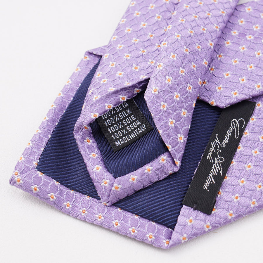 Cesare Attolini Lavender Micro Floral Silk Tie - Top Shelf Apparel