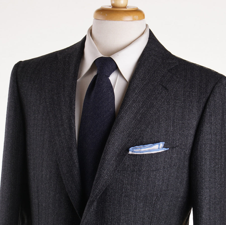 Cesare Attolini Charcoal Gray Stripe Wool Suit