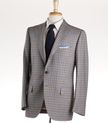 Cesare Attolini Gray and Tan Check Wool Suit