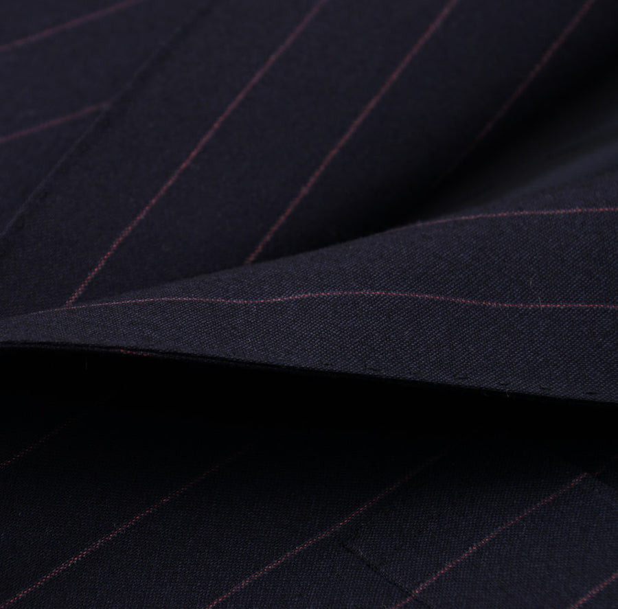 Cesare Attolini Navy and Violet Striped Wool Suit