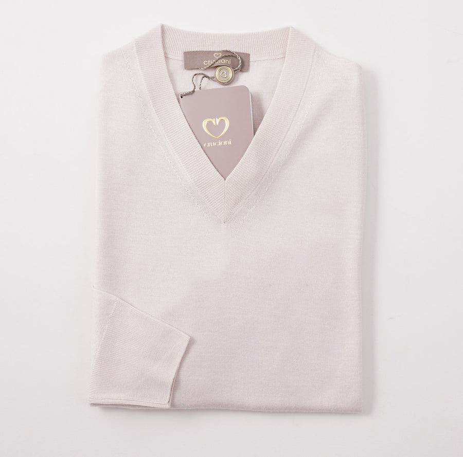 Cruciani Pale Pink Cashmere-Silk V-Neck Sweater
