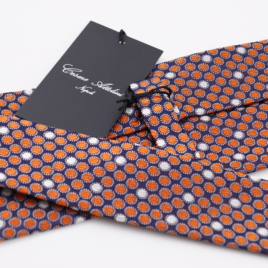 Cesare Attolini Navy-Orange Dot Pattern Silk Tie