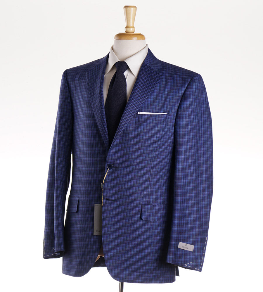 Canali Navy-Sky Blue Check Wool Sport Coat