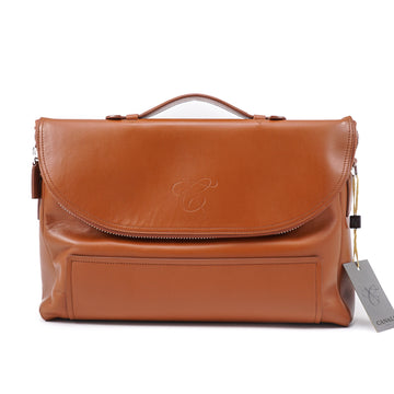 Canali Soft Tan Calf Leather 24-Hour Bag