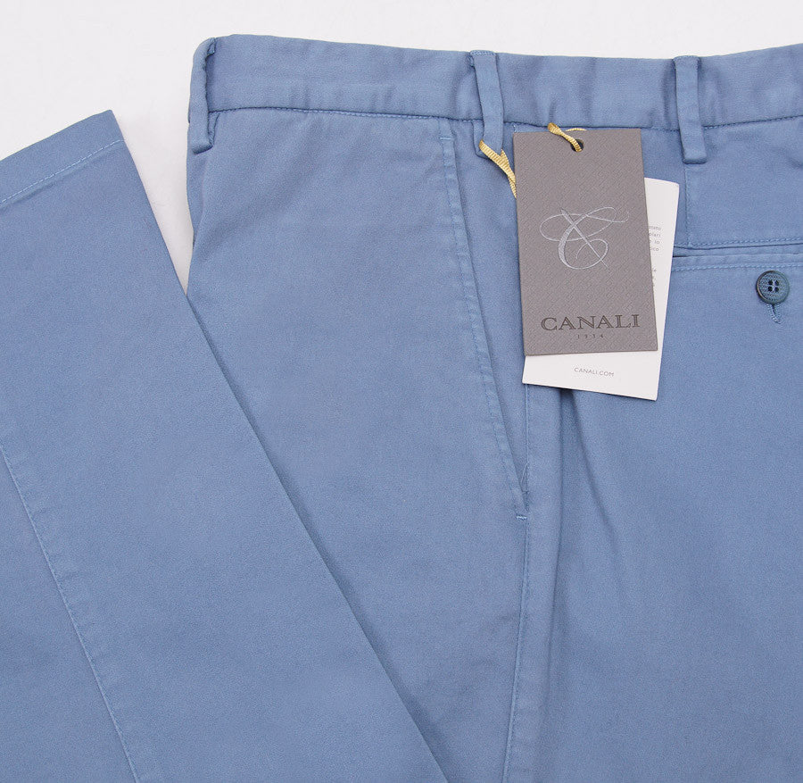 Canali Slate Blue Cotton Chinos Eu 54/US 37W - Top Shelf Apparel - 2