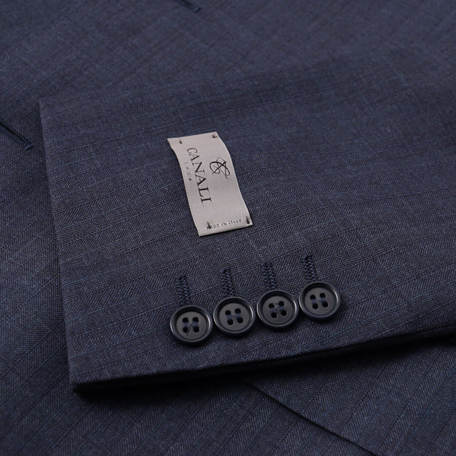 Canali Slate Blue Striped Wool Suit