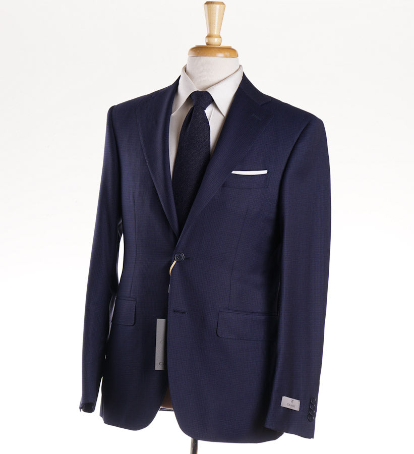 Canali Navy Subtle Check Wool Suit - Top Shelf Apparel