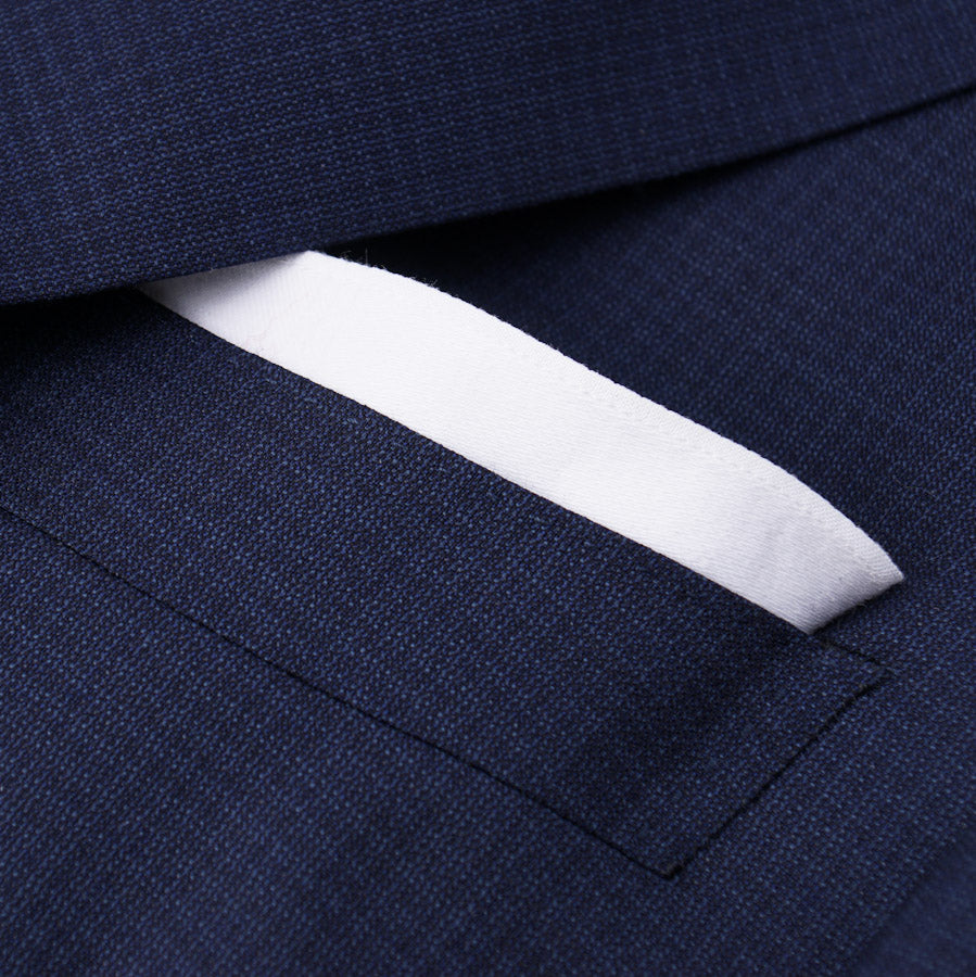 Canali Navy Subtle Check Wool Suit