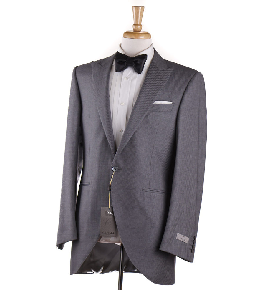 Canali Peak Lapel Tuxedo in Gray Wool