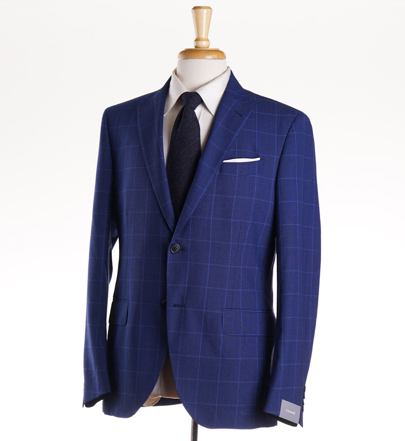 Cantarelli Bright Blue Woven Check Wool Suit
