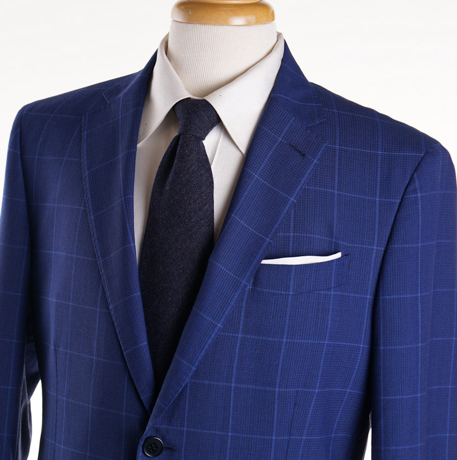 Cantarelli Bright Blue Woven Check Wool Suit - Top Shelf Apparel
