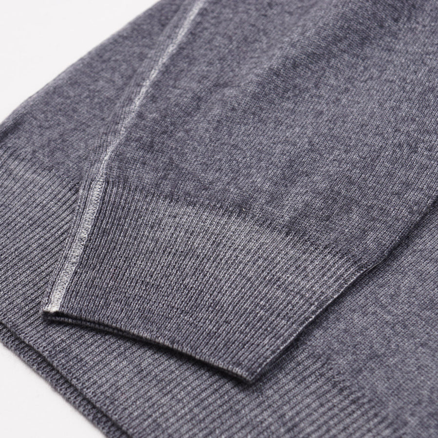 Cruciani Gray Full-Zip Merino Wool Sweater
