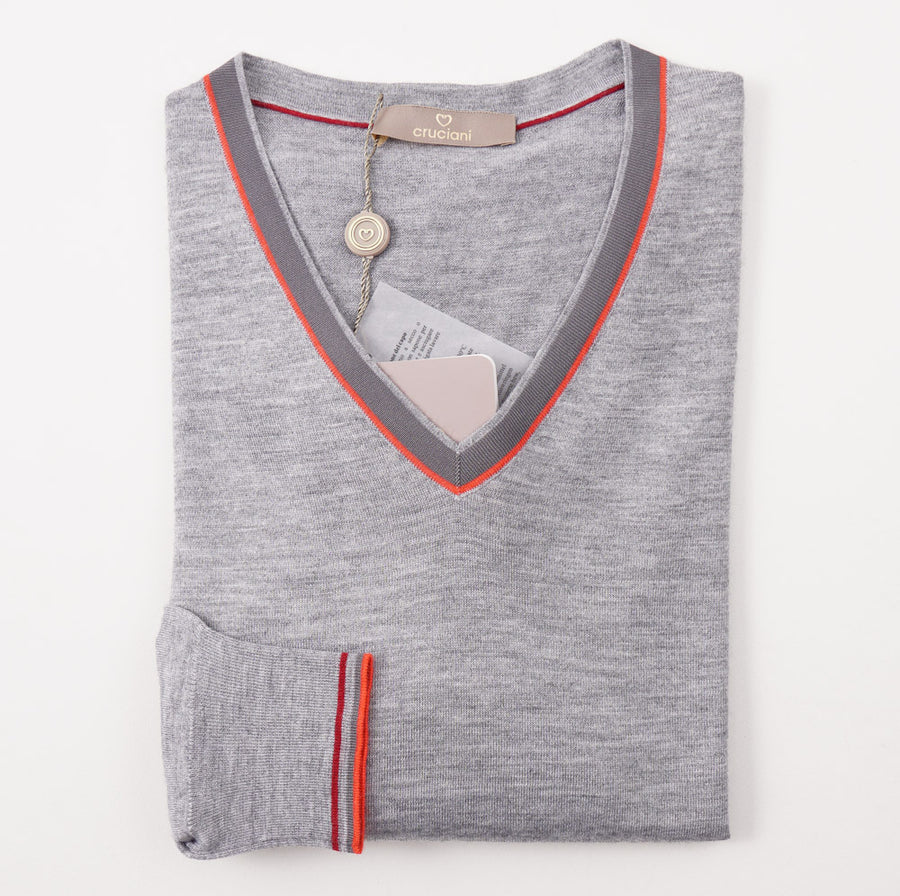 Cruciani Tipped Gray Cashmere-Silk Sweater - Top Shelf Apparel