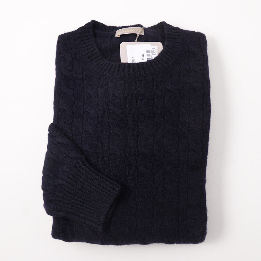 Cruciani Navy Blue Cable Knit Cashmere Sweater - Top Shelf Apparel