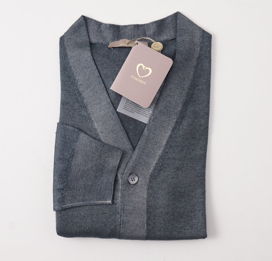 Cruciani Cashmere-Silk Cardigan in Gray-Green