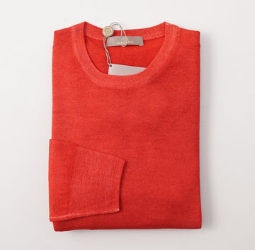 Cruciani Strawberry Red Garment-Dyed Wool Sweater