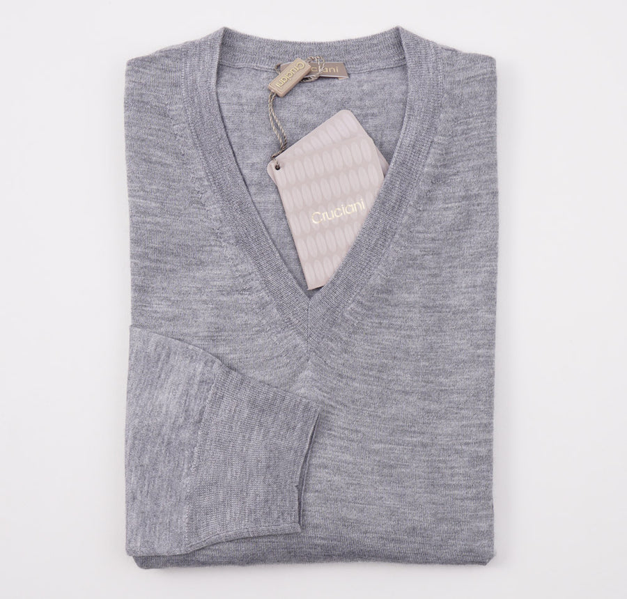 Cruciani Light Gray Cashmere-Silk Sweater