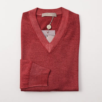 Cruciani Brick Red Cashmere and Silk V-Neck Sweater