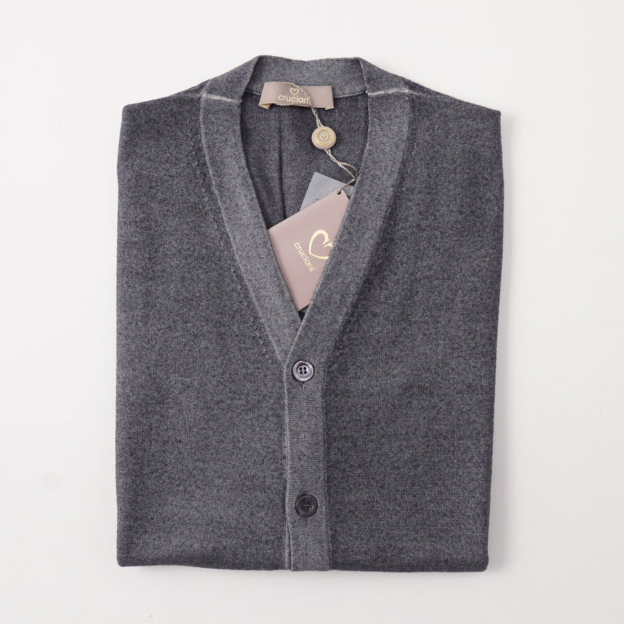 Cruciani Merino Wool Cardigan Vest in Blue-Gray