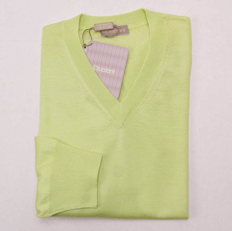 Cruciani Lightweight Lime Cashmere-Silk Sweater - Top Shelf Apparel - 1
