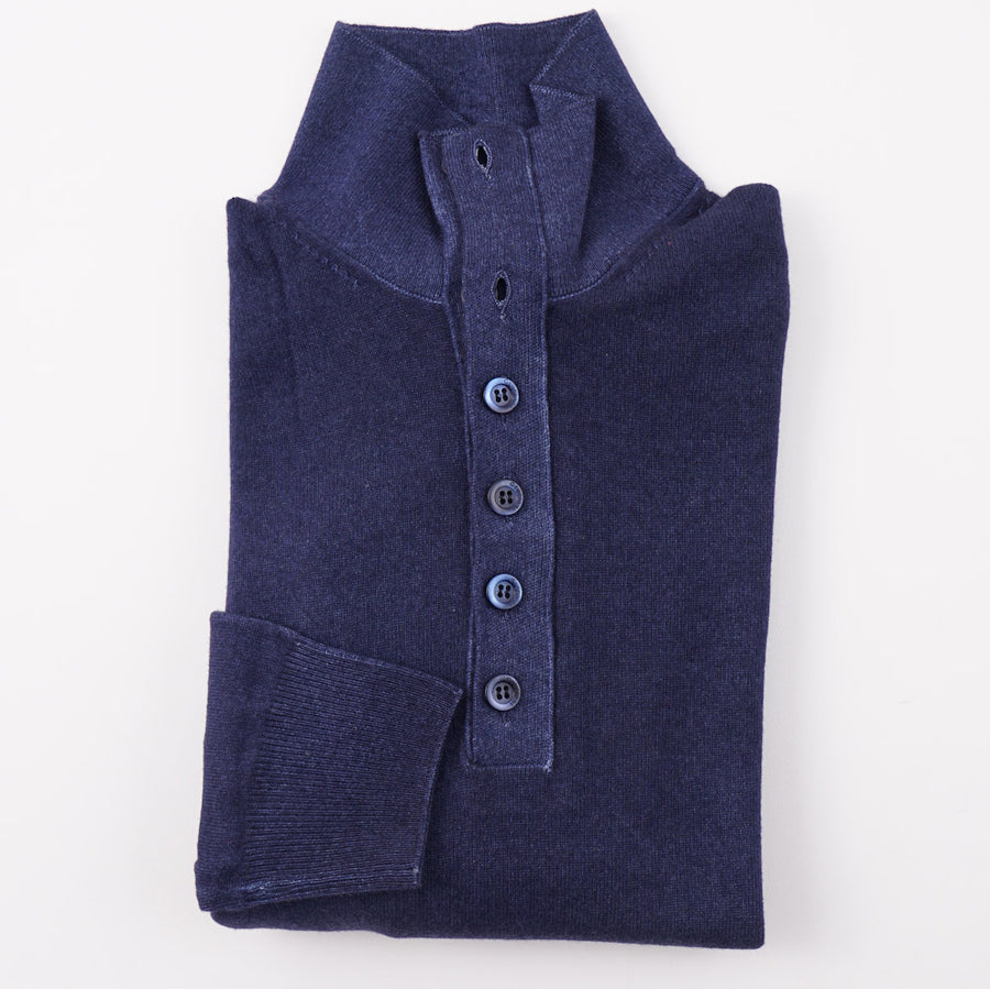Cruciani Dark Blue Button Collar Cashmere Sweater