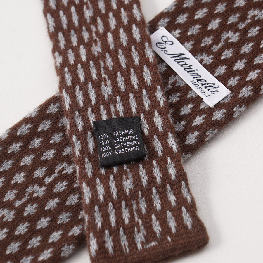 E. Marinella Brown and Gray Knit Cashmere Tie - Top Shelf Apparel