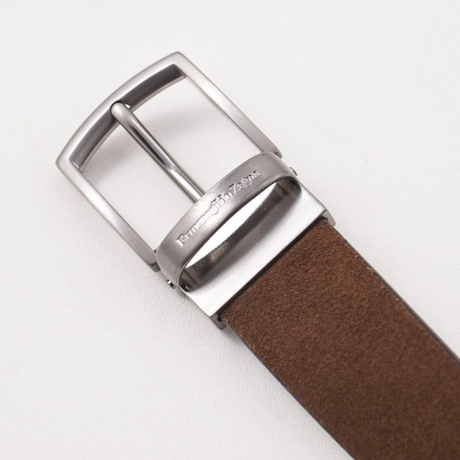 Ermenegildo Zegna Reversible Leather Belt in Brown