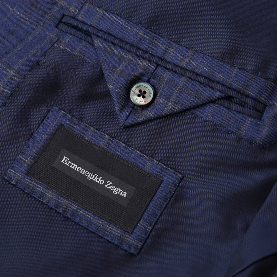 Ermenegildo Zegna Blue Check Wool Sport Coat