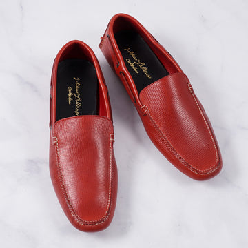 Silvano Lattanzi Driving Loafer in Red