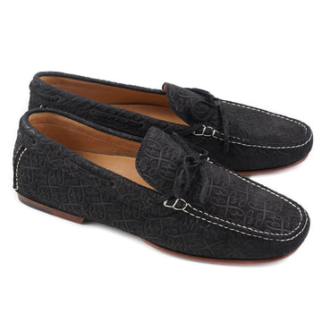 Brioni Black Monogram-Embossed Driving Loafers
