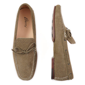 Brioni Olive Monogram-Embossed Driving Loafers