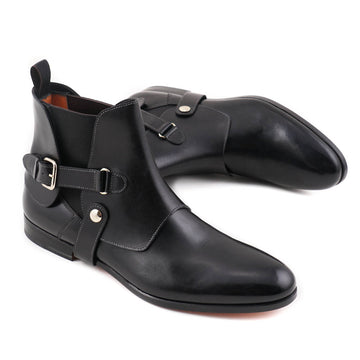 Santoni Black Ankle Boots with Buckle Detail - Top Shelf Apparel