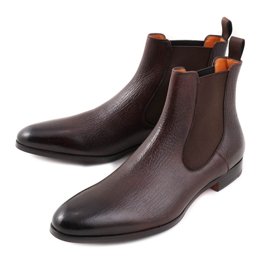 Santoni Chelsea Boots in Brown Grained Leather