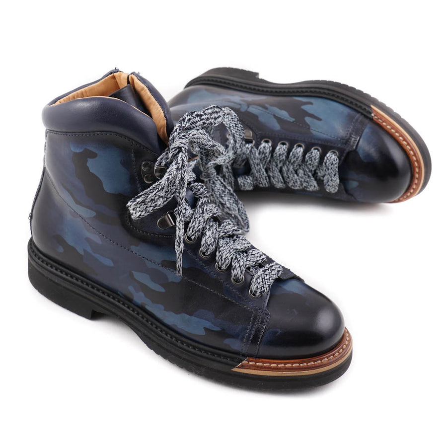 Santoni Hiking Boots in Navy Camouflage