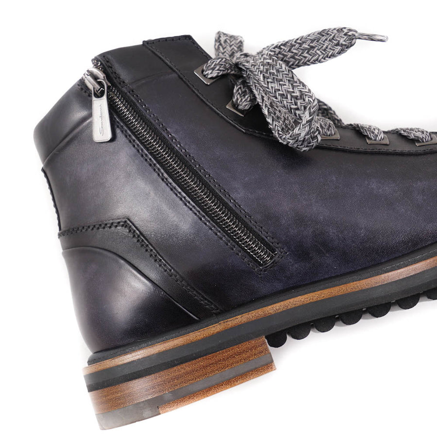Santoni Hiking Boots in Navy Blue
