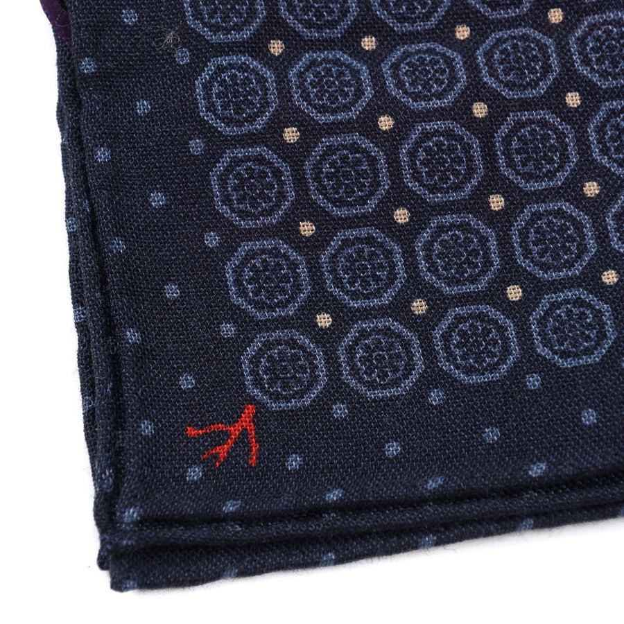 Isaia Printed Wool-Silk Pocket Square - Top Shelf Apparel