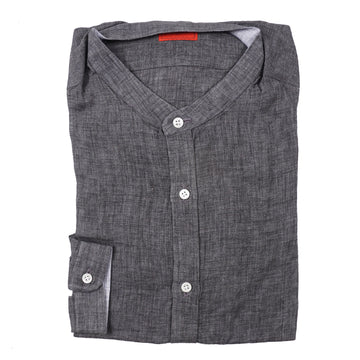 Isaia Woven Linen Shirt with Band Collar - Top Shelf Apparel