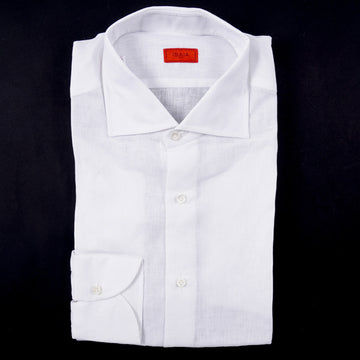 Isaia Modern 'Mix Fit' White Linen Dress Shirt - Top Shelf Apparel