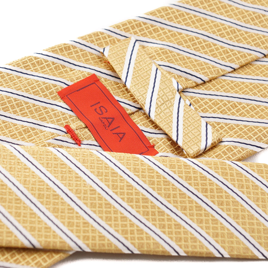 Isaia Golden Yellow Ribbon Stripe Tie