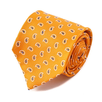 Isaia Tangerine Orange Paisley Silk Tie