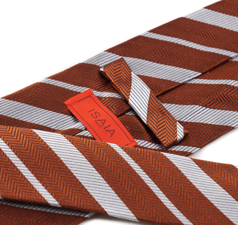 Isaia Copper Brown and Silver Stripe Tie