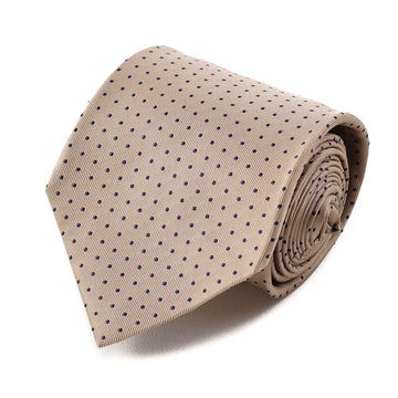 Isaia Gold and Navy Dot Pattern Tie