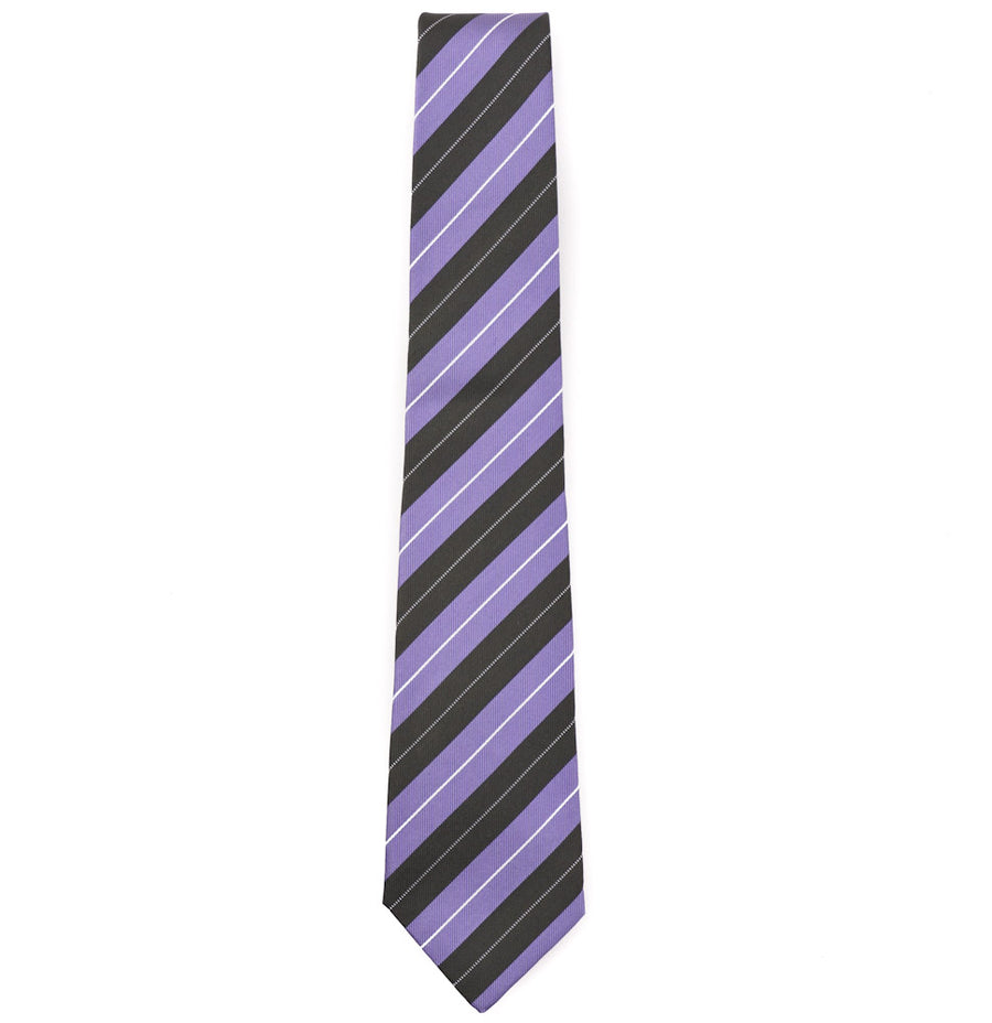 Isaia Lavender and Olive Striped Tie