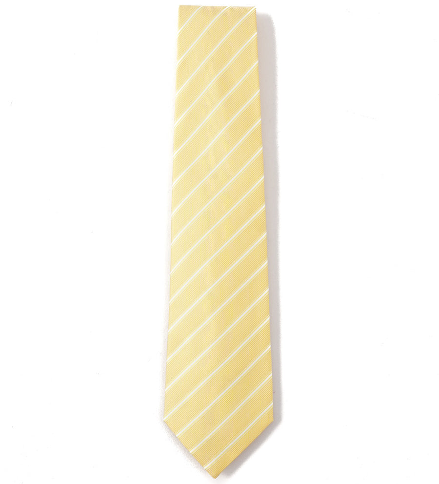 Isaia Golden Yellow and White Striped Tie
