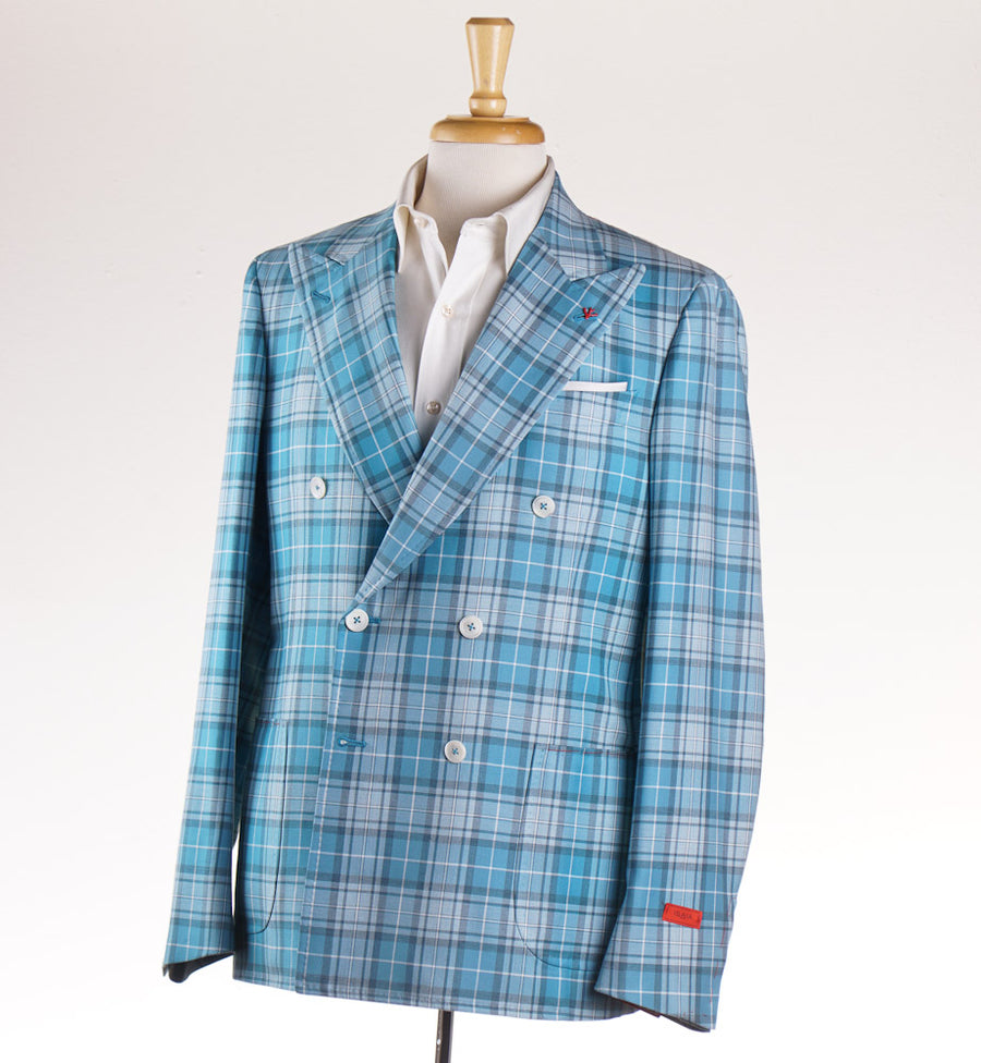 Isaia Aqua Blue Plaid 'Base Cortina' Sport Coat